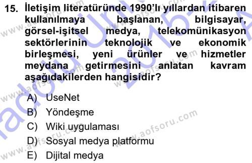 İnternet Yayıncılığı Dersi Ara Sınavı Deneme Sınav Soruları 15. Soru