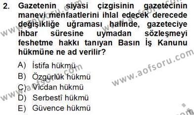 Medya ve İletişim Bölümü 3. Yarıyıl Medyada Çalışma Hayatı Dersi 2013 Yılı Güz Dönemi Ara Sınavı 2. Soru