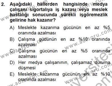 Medya ve İletişim Bölümü 3. Yarıyıl Medyada Çalışma Hayatı Dersi 2013 Yılı Güz Dönemi Dönem Sonu Sınavı 2. Soru