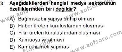 Medya ve İletişim Bölümü 3. Yarıyıl Medyada Çalışma Hayatı Dersi 2014 Yılı Güz Dönemi Tek Ders Sınavı 3. Soru