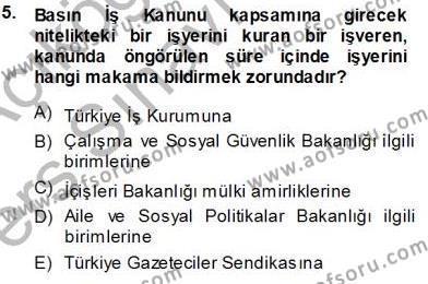 Medya ve İletişim Bölümü 3. Yarıyıl Medyada Çalışma Hayatı Dersi 2014 Yılı Güz Dönemi Tek Ders Sınavı 5. Soru