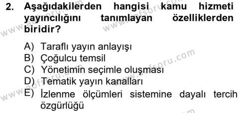 Medya ve İletişim Bölümü 4. Yarıyıl Medya Siyaset Kültür Dersi 2013 Yılı Bahar Dönemi Ara Sınavı 2. Soru