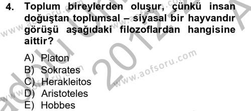 Medya ve İletişim Bölümü 4. Yarıyıl Medya Siyaset Kültür Dersi 2013 Yılı Bahar Dönemi Ara Sınavı 4. Soru