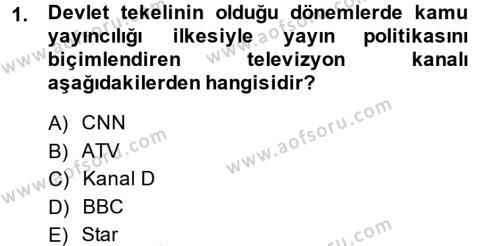 Medya ve İletişim Bölümü 4. Yarıyıl Medya Siyaset Kültür Dersi 2014 Yılı Bahar Dönemi Ara Sınavı 1. Soru
