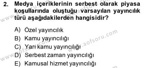 Medya ve İletişim Bölümü 4. Yarıyıl Medya Siyaset Kültür Dersi 2014 Yılı Bahar Dönemi Ara Sınavı 2. Soru