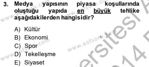 Medya ve İletişim Bölümü 4. Yarıyıl Medya Siyaset Kültür Dersi 2014 Yılı Bahar Dönemi Ara Sınavı 3. Soru