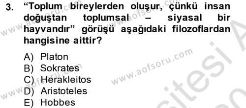 Medya ve İletişim Bölümü 4. Yarıyıl Medya Siyaset Kültür Dersi 2014 Yılı Bahar Dönemi Tek Ders Sınavı 3. Soru