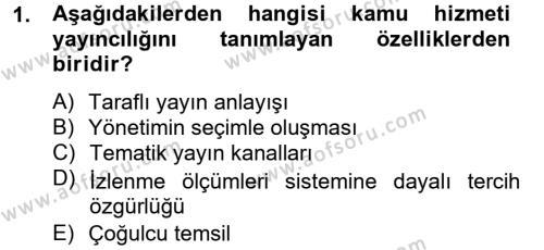Medya ve İletişim Bölümü 4. Yarıyıl Medya Siyaset Kültür Dersi 2015 Yılı Bahar Dönemi Ara Sınavı 1. Soru