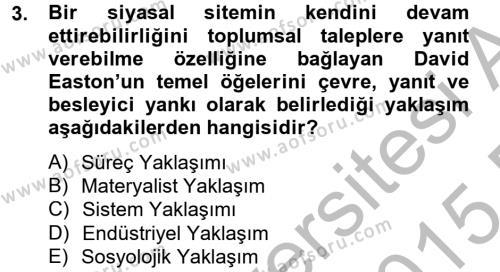 Medya ve İletişim Bölümü 4. Yarıyıl Medya Siyaset Kültür Dersi 2015 Yılı Bahar Dönemi Ara Sınavı 3. Soru