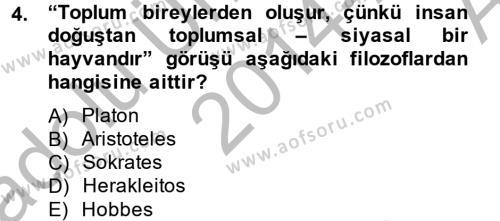 Medya ve İletişim Bölümü 4. Yarıyıl Medya Siyaset Kültür Dersi 2015 Yılı Bahar Dönemi Ara Sınavı 4. Soru