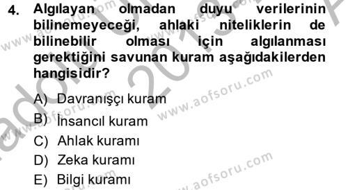 Medya ve İletişim Bölümü 4. Yarıyıl Medya ve Etik Dersi 2014 Yılı Bahar Dönemi Ara Sınavı 4. Soru
