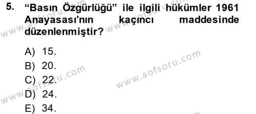 Medya ve İletişim Bölümü 4. Yarıyıl Medya ve Etik Dersi 2014 Yılı Bahar Dönemi Dönem Sonu Sınavı 5. Soru