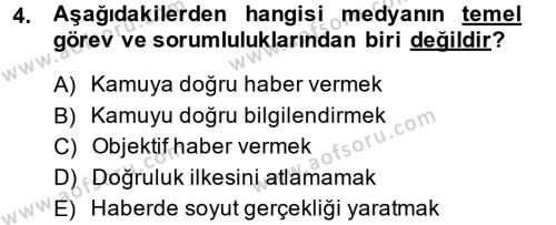 Medya ve İletişim Bölümü 4. Yarıyıl Medya ve Etik Dersi 2015 Yılı Bahar Dönemi Ara Sınavı 4. Soru