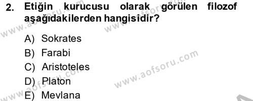 Medya ve Etik Dersi 2014 - 2015 Yılı Dönem Sonu Sınavı 2. Soru