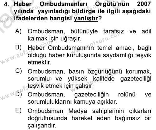 Medya ve Etik Dersi 2016 - 2017 Yılı (Final) Dönem Sonu Sınav Soruları 4. Soru