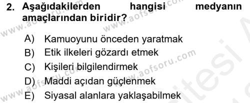 Medya ve Etik Dersi 2017 - 2018 Yılı (Vize) Ara Sınav Soruları 2. Soru