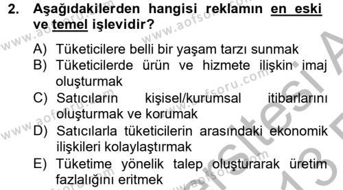 Halkla İlişkiler ve Reklamcılık Bölümü 8. Yarıyıl Medya ve Reklam Dersi 2013 Yılı Bahar Dönemi Ara Sınavı 2. Soru