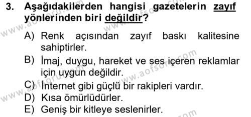 Medya ve Reklam Dersi 2012 - 2013 Yılı (Vize) Ara Sınav Soruları 3. Soru
