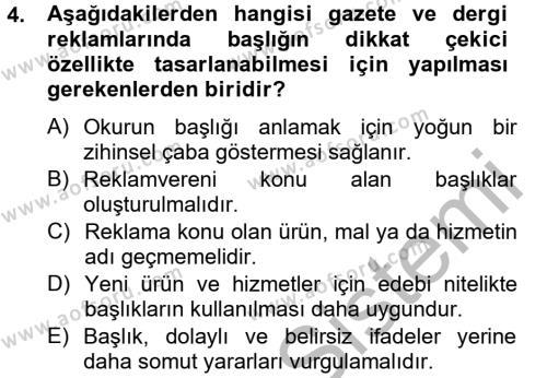 Halkla İlişkiler ve Reklamcılık Bölümü 8. Yarıyıl Medya ve Reklam Dersi 2013 Yılı Bahar Dönemi Ara Sınavı 4. Soru
