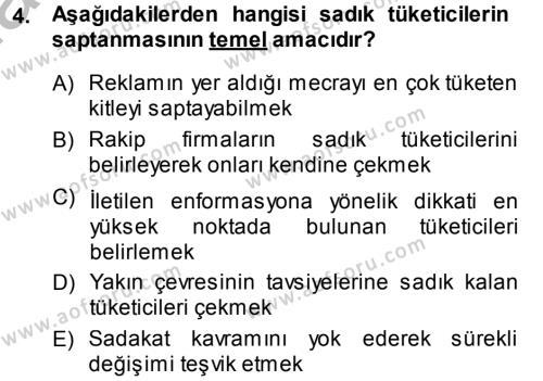 Medya ve İletişim Bölümü 4. Yarıyıl Medya ve Reklam Dersi 2014 Yılı Bahar Dönemi Dönem Sonu Sınavı 4. Soru