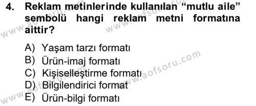 Halkla İlişkiler ve Reklamcılık Bölümü 8. Yarıyıl Medya ve Reklam Dersi 2014 Yılı Bahar Dönemi Tek Ders Sınavı 4. Soru