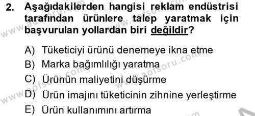 Halkla İlişkiler ve Reklamcılık Bölümü 8. Yarıyıl Medya ve Reklam Dersi 2015 Yılı Bahar Dönemi Ara Sınavı 2. Soru