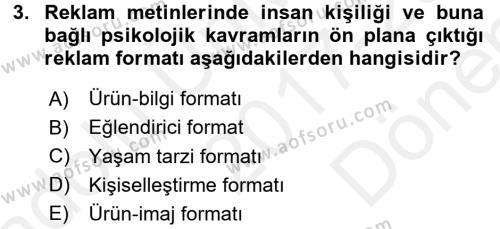 Medya ve Reklam Dersi 2017 - 2018 Yılı (Final) Dönem Sonu Sınav Soruları 3. Soru