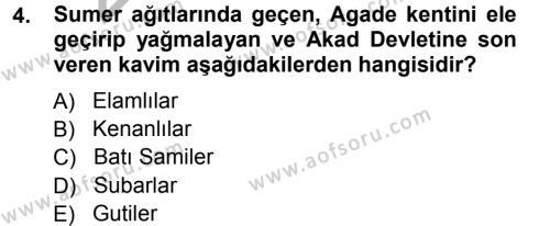 Kültürel Miras ve Turizm Bölümü 1. Yarıyıl Mitoloji ve Din Dersi 2013 Yılı Güz Dönemi Ara Sınavı 4. Soru
