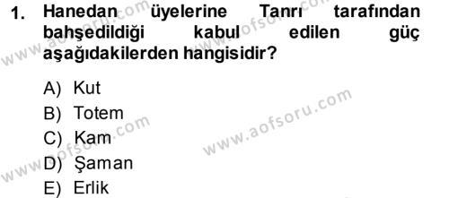 Kültürel Miras ve Turizm Bölümü 1. Yarıyıl Mitoloji ve Din Dersi 2014 Yılı Güz Dönemi Ara Sınavı 1. Soru