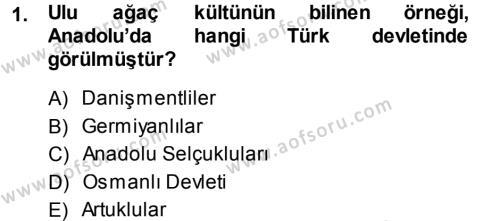 Kültürel Miras ve Turizm Bölümü 1. Yarıyıl Mitoloji ve Din Dersi 2014 Yılı Güz Dönemi Dönem Sonu Sınavı 1. Soru