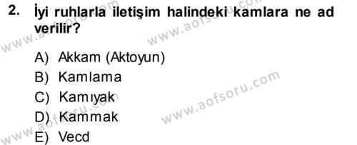 Kültürel Miras ve Turizm Bölümü 1. Yarıyıl Mitoloji ve Din Dersi 2014 Yılı Güz Dönemi Dönem Sonu Sınavı 2. Soru