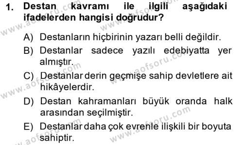 Kültürel Miras ve Turizm Bölümü 1. Yarıyıl Mitoloji ve Din Dersi 2015 Yılı Güz Dönemi Ara Sınavı 1. Soru
