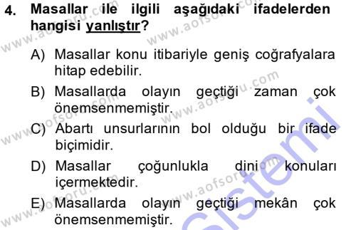 Kültürel Miras ve Turizm Bölümü 1. Yarıyıl Mitoloji ve Din Dersi 2015 Yılı Güz Dönemi Ara Sınavı 4. Soru