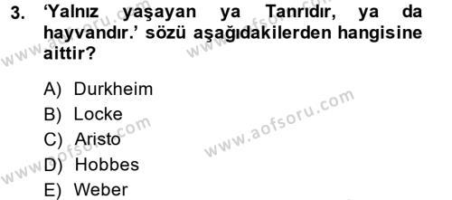 Kültürel Miras ve Turizm Bölümü 1. Yarıyıl Mitoloji ve Din Dersi 2015 Yılı Güz Dönemi Dönem Sonu Sınavı 3. Soru