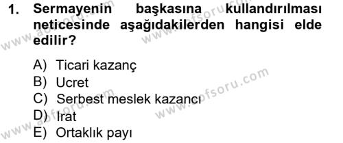 İşletme Bölümü 7. Yarıyıl Türk Vergi Sistemi Dersi 2013 Yılı Güz Dönemi Ara Sınavı 1. Soru
