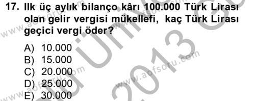 Türk Vergi Sistemi Dersi Ara Sınavı Deneme Sınav Soruları 17. Soru