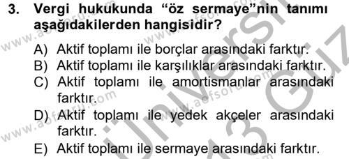 Türk Vergi Sistemi Dersi 2012 - 2013 Yılı Ara Sınavı 3. Soru