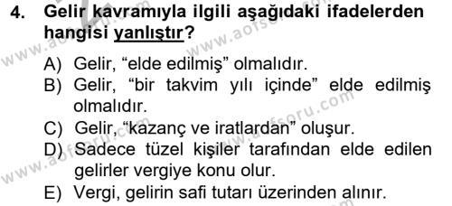 İşletme Bölümü 7. Yarıyıl Türk Vergi Sistemi Dersi 2013 Yılı Güz Dönemi Ara Sınavı 4. Soru