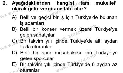 Türk Vergi Sistemi Dersi 2012 - 2013 Yılı Dönem Sonu Sınavı 2. Soru