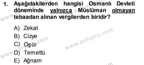Yerel Yönetimler Bölümü 3. Yarıyıl Türk Vergi Sistemi Dersi 2014 Yılı Güz Dönemi Ara Sınavı 1. Soru