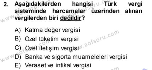 Yerel Yönetimler Bölümü 3. Yarıyıl Türk Vergi Sistemi Dersi 2014 Yılı Güz Dönemi Ara Sınavı 2. Soru