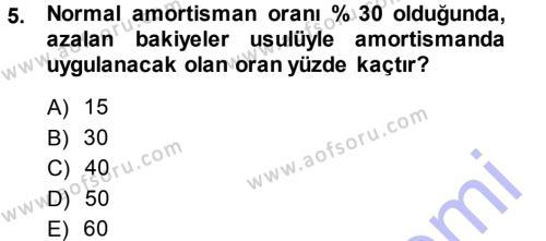 Kamu Yönetimi Bölümü 7. Yarıyıl Türk Vergi Sistemi Dersi 2014 Yılı Güz Dönemi Ara Sınavı 5. Soru