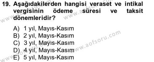 Türk Vergi Sistemi Dersi 2013 - 2014 Yılı Tek Ders Sınavı 19. Soru 1. Soru