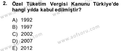 Muhasebe ve Vergi Uygulamaları Bölümü 3. Yarıyıl Türk Vergi Sistemi Dersi 2015 Yılı Güz Dönemi Ara Sınavı 2. Soru