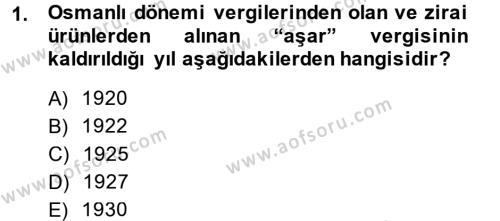 Türk Vergi Sistemi Dersi 2014 - 2015 Yılı (Final) Dönem Sonu Sınavı 1. Soru