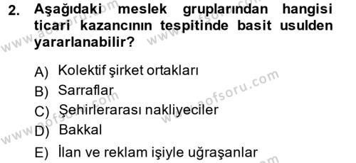 Türk Vergi Sistemi Dersi 2014 - 2015 Yılı (Final) Dönem Sonu Sınavı 2. Soru