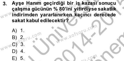 Türk Vergi Sistemi Dersi 2014 - 2015 Yılı (Final) Dönem Sonu Sınavı 3. Soru