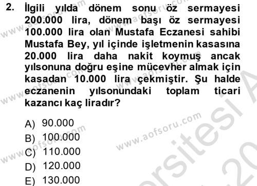 Türk Vergi Sistemi Dersi 2014 - 2015 Yılı Tek Ders Sınavı 2. Soru