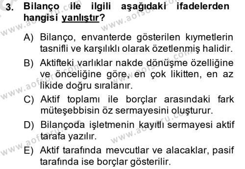 Türk Vergi Sistemi Dersi 2014 - 2015 Yılı Tek Ders Sınavı 3. Soru