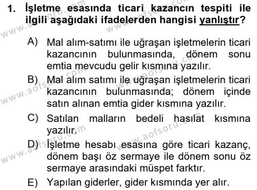 İşletme Bölümü 7. Yarıyıl Türk Vergi Sistemi Dersi 2016 Yılı Güz Dönemi Ara Sınavı 1. Soru